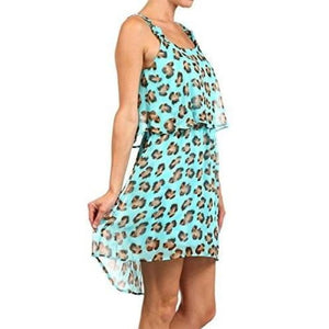 Teenplo Light Blue Leopard Sleeveless Summer Dress - Hot Style
