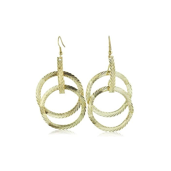 Textured Multi-Hoop Dangle Drop Earrings
