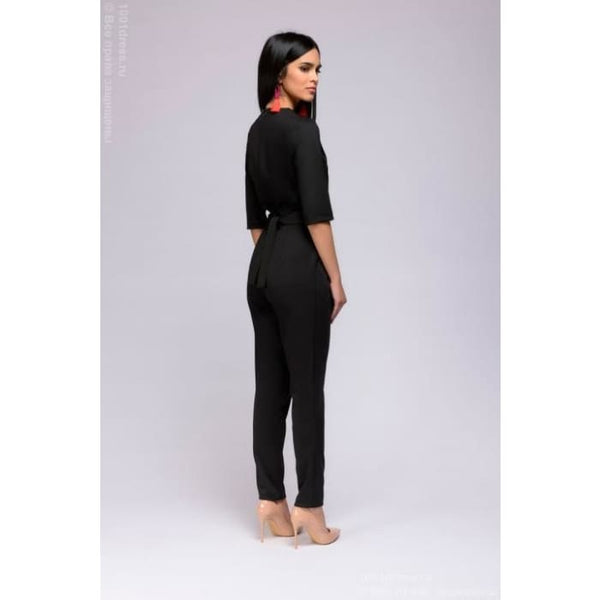 The black jumpsuit DM01031BK 1/2 sleeves and pockets