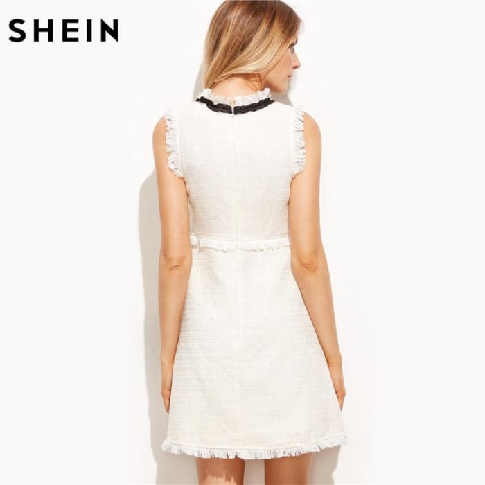 Tie Neck Sleeveless Elegant Frayed Trim Tweed Dress