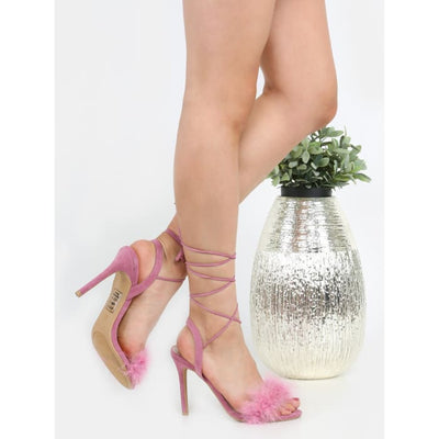 Tie Up Suede Feather Heels Mauve Heels