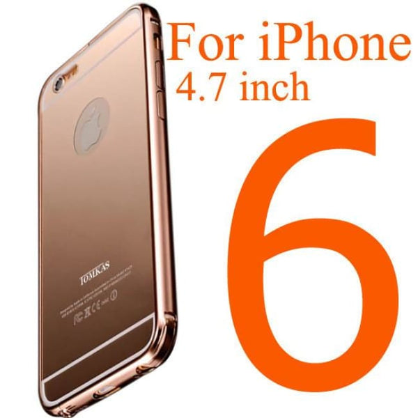 Tomkas Brand Mirror Acrylic+Aluminum Case For Iphone 6 4.7 Inch Luxury Metal Slim Back Cover For Iphone 6 Plus 5.5 Inch Phone Bags & Cases