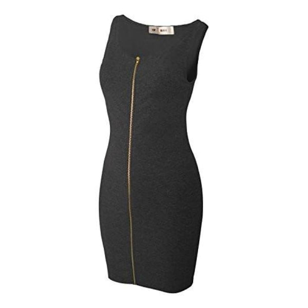 Toms Ware Women Slim Fit Zip Up Bodycon Mini Dress Back To Toms Ware Store