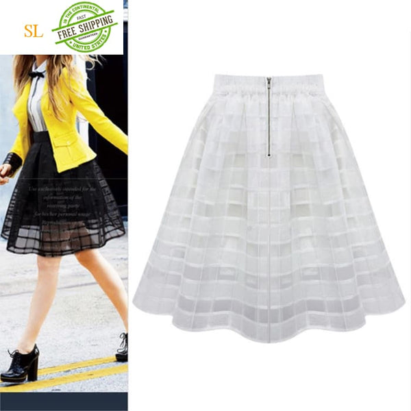 Transparent Tulle Skirts High Waist Pleated Midi Skirts Skirts
