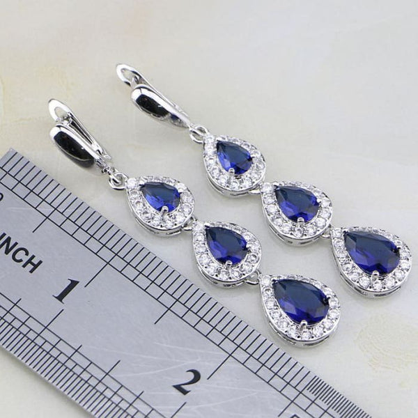 Trendy Water Drop Blue Cubic Zirconia White Cz 925 Sterling Silver Jewelry Set Jewelry Sets