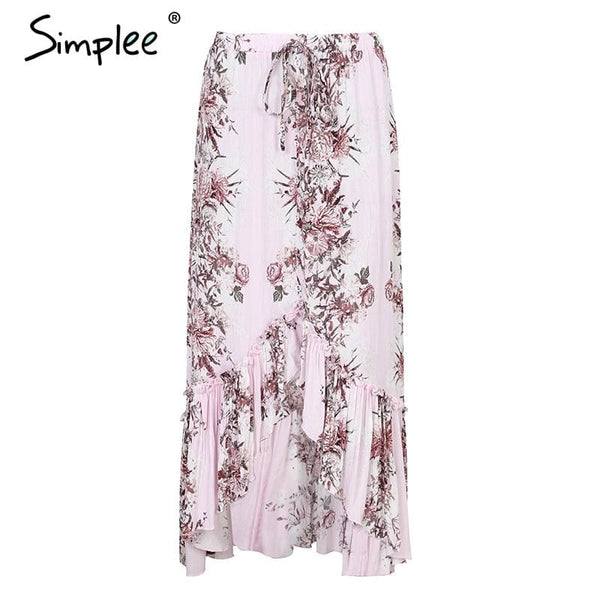 Trumpet Ruffle Print Long Skirt