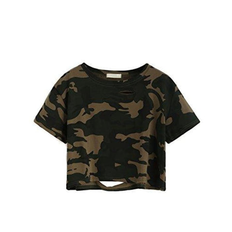Tshirt Camo Print Distressed Crop T-Shirt Knits & Tees