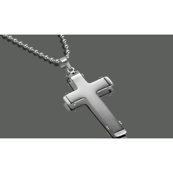 Two Tone Stainless Steel Cross Pendant Necklace