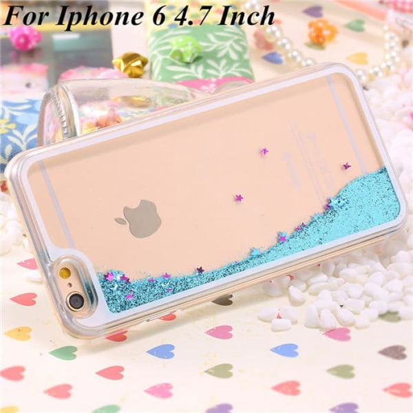 Ultra Thin Clear Back Case For Iphone 6 Plus 5.5 Inch For Apple6 4.7 Liquid Glitter Bling Sand Star Quicksand Mobile Phone Cover Star Blue