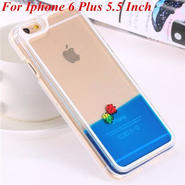 Ultra Thin Clear Back Case For Iphone 6 Plus 5.5 Inch For Apple6 4.7 Liquid Glitter Bling Sand Star Quicksand Mobile Phone Cover Fish Blue