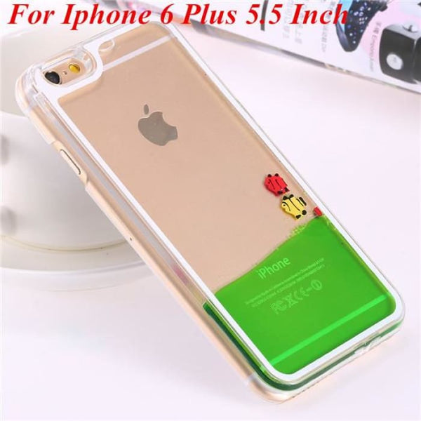 Ultra Thin Clear Back Case For Iphone 6 Plus 5.5 Inch For Apple6 4.7 Liquid Glitter Bling Sand Star Quicksand Mobile Phone Cover Fish Green