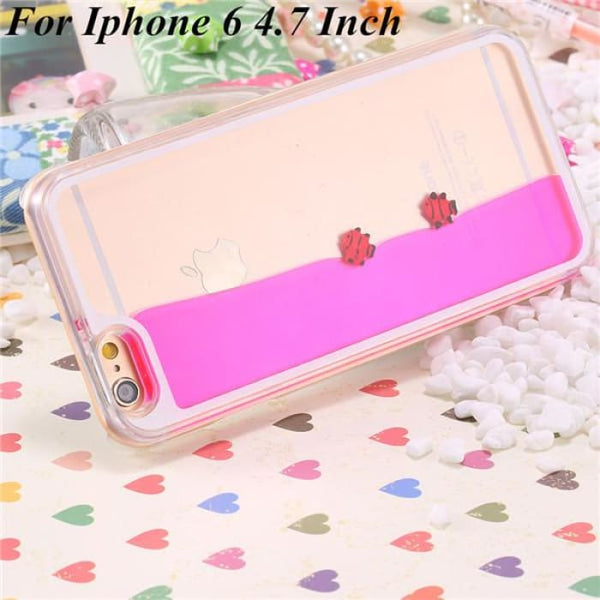 Ultra Thin Clear Back Case For Iphone 6 Plus 5.5 Inch For Apple6 4.7 Liquid Glitter Bling Sand Star Quicksand Mobile Phone Cover Fish Hot