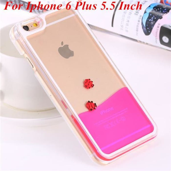 Ultra Thin Clear Back Case For Iphone 6 Plus 5.5 Inch For Apple6 4.7 Liquid Glitter Bling Sand Star Quicksand Mobile Phone Cover Fish