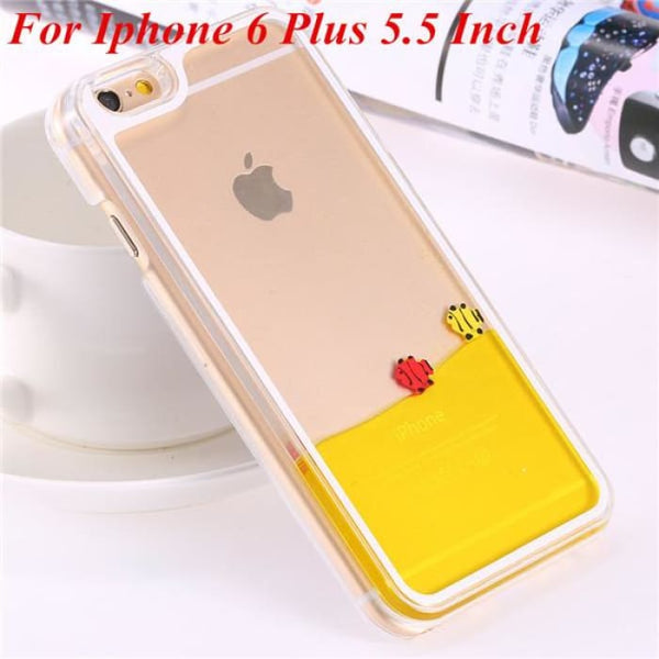 Ultra Thin Clear Back Case For Iphone 6 Plus 5.5 Inch For Apple6 4.7 Liquid Glitter Bling Sand Star Quicksand Mobile Phone Cover Fish Yellow