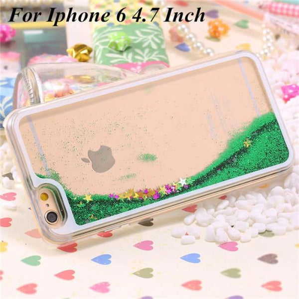 Ultra Thin Clear Back Case For Iphone 6 Plus 5.5 Inch For Apple6 4.7 Liquid Glitter Bling Sand Star Quicksand Mobile Phone Cover Star Green