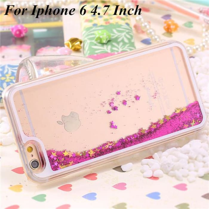 Ultra Thin Clear Back Case For Iphone 6 Plus 5.5 Inch For Apple6 4.7 Liquid Glitter Bling Sand Star Quicksand Mobile Phone Cover Star Hot