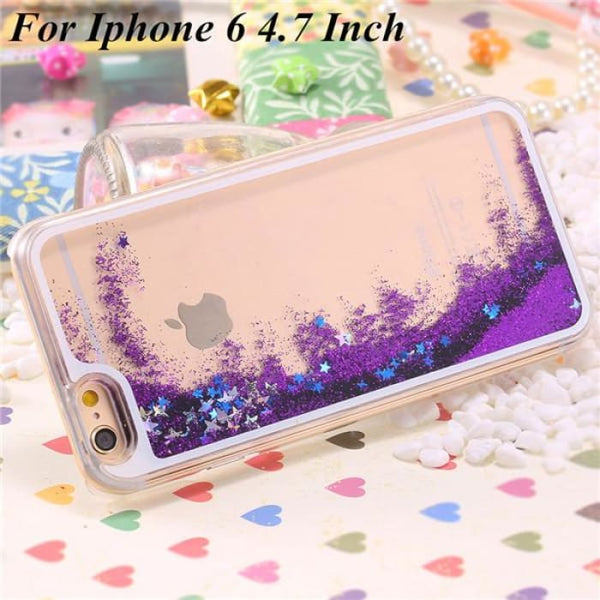 Ultra Thin Clear Back Case For Iphone 6 Plus 5.5 Inch For Apple6 4.7 Liquid Glitter Bling Sand Star Quicksand Mobile Phone Cover Star Purple