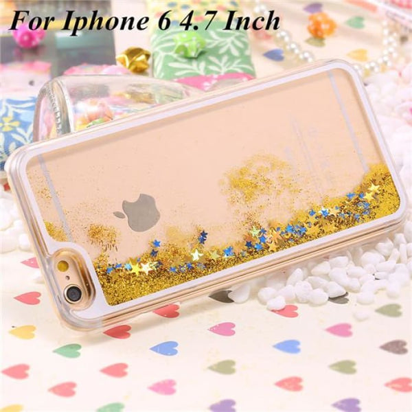 Ultra Thin Clear Back Case For Iphone 6 Plus 5.5 Inch For Apple6 4.7 Liquid Glitter Bling Sand Star Quicksand Mobile Phone Cover Star Yellow