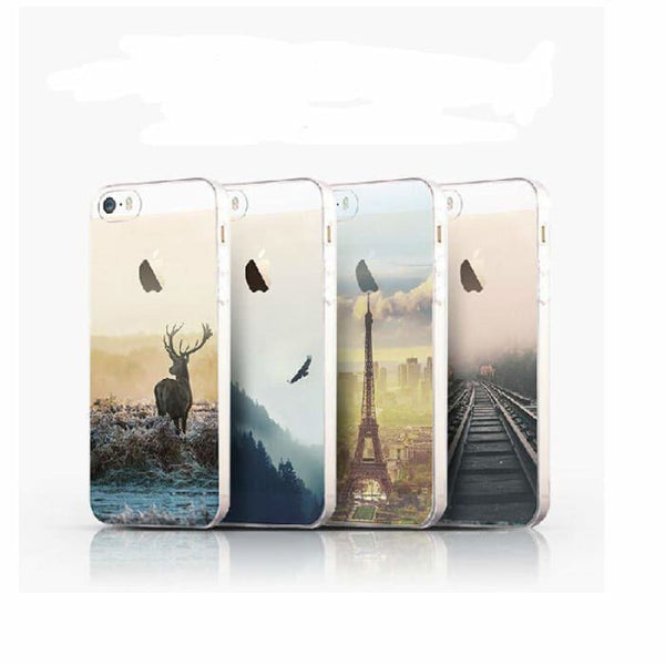 Ultra Thin Soft Scenery Mountain Case Cover For Apple Iphone 6 Case Luxury Series Fashion Transparent Back Cover For Phone6 4.7 Phone Bags &