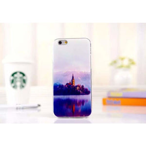 Ultra Thin Soft Scenery Mountain Case Cover For Apple Iphone 6 Case Luxury Series Fashion Transparent Back Cover For Phone6 4.7 Style1 Phone