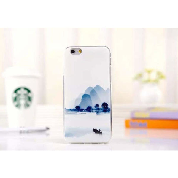 Ultra Thin Soft Scenery Mountain Case Cover For Apple Iphone 6 Case Luxury Series Fashion Transparent Back Cover For Phone6 4.7 Style6 Phone