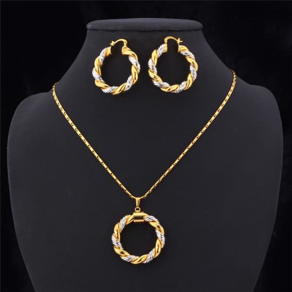 Unique Design Necklace Set Mix Platinum/18K Real Gold Plated Trendy Round Pendant Necklace Earrings Women Jewelry Set S544 Jewelry Sets