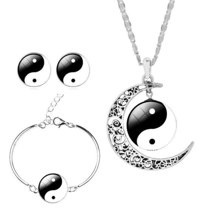 Unique Tai Chi Jewelry Sets For Women Silver Color Earrings Bracelets & Bangles 1 Jewelry Sets