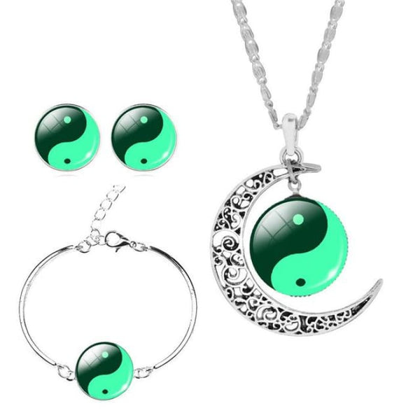 Unique Tai Chi Jewelry Sets For Women Silver Color Earrings Bracelets & Bangles 2 Jewelry Sets