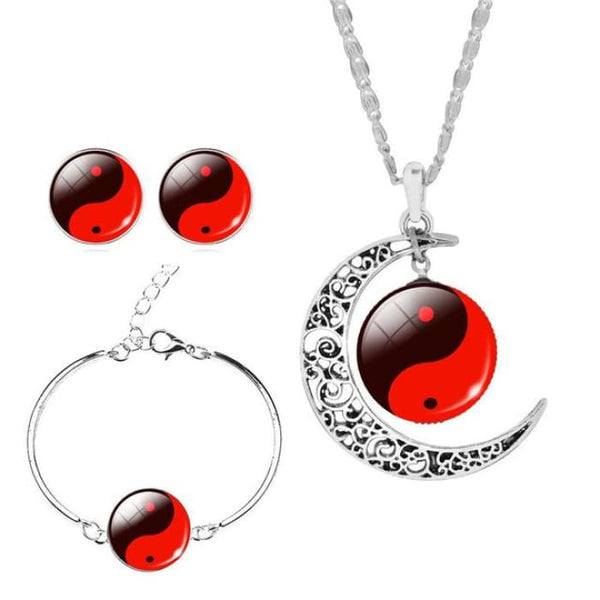 Unique Tai Chi Jewelry Sets For Women Silver Color Earrings Bracelets & Bangles 3 Jewelry Sets