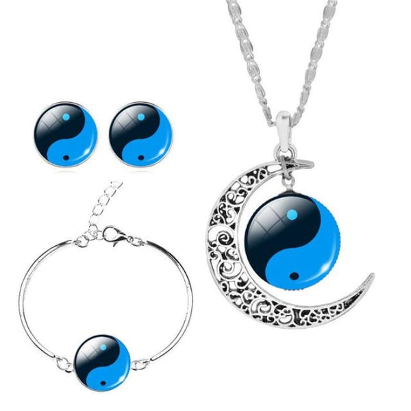 Unique Tai Chi Jewelry Sets For Women Silver Color Earrings Bracelets & Bangles 4 Jewelry Sets