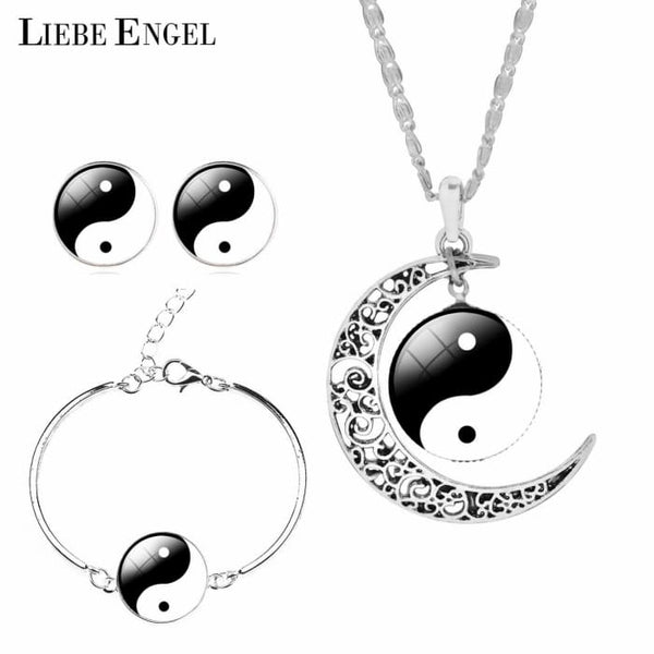 Unique Tai Chi Jewelry Sets For Women Silver Color Earrings Bracelets & Bangles Jewelry Sets