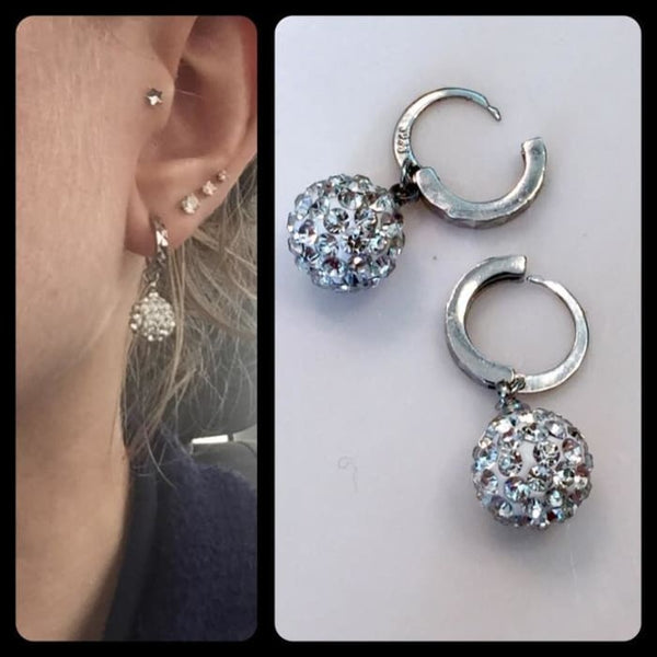 Unique Womens White Clear Crystal Round Ball Charming Hoop Earrings