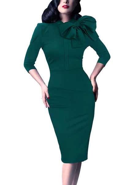 Womens Celebrity Vintage Bowknot Cocktail Party Stretch Bodycon Dress