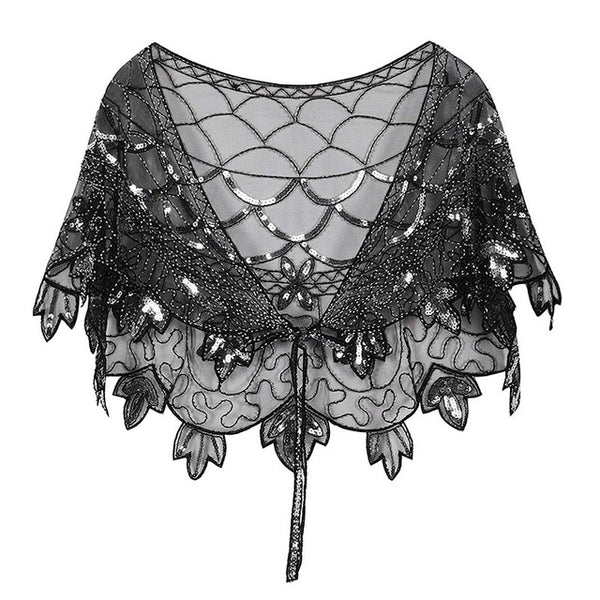 Vintage 1920s Flapper Shawl Sequin Beaded Short Cape