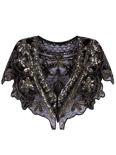 Women's 1920s Shawl Wrap Art Deco Beaded /  Vintage Black & Gold Sequin Beaded Evening Cape Bolero Flapper