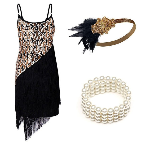 1920s Flapper Dress Great Gatsby Party Evening Sequins Fringed Dresses Gown