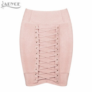ADYCE 2019 New Summer Bandage Skirts Women Slim Black Nude Celebrity Party Pencil Skirt Lace Up Mini Length Skirt Wholesale