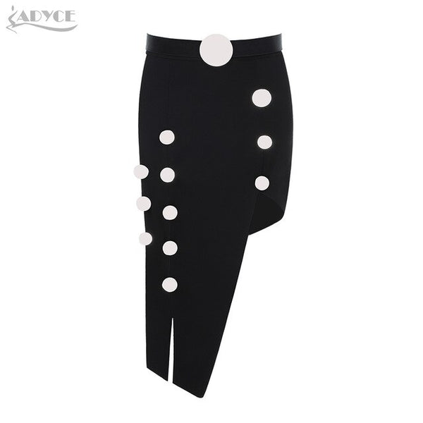 Adyce 2019 New Summer Bandage Skirt Women Sexy Black Color Sash Button Midi Club Skirts Celebrity Evening Party Runway Skirt