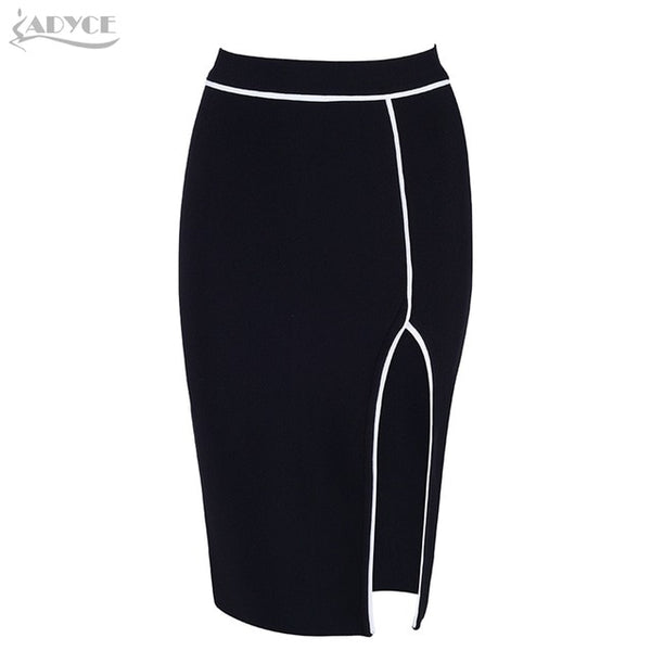 ADYCE 2019 New Women Bandage Skirt Sexy Celebrity Party Skirts Knee length Black Club Bodycon Skirt Celebrity Party Runway Skirt