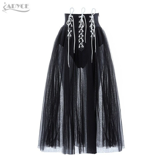 ADYCE 2019 New Summer Women Female Lace Bandage Skirt Sexy Ball Gown Ankle Length Celebrity Party Skirts Black Bodycon Skirts