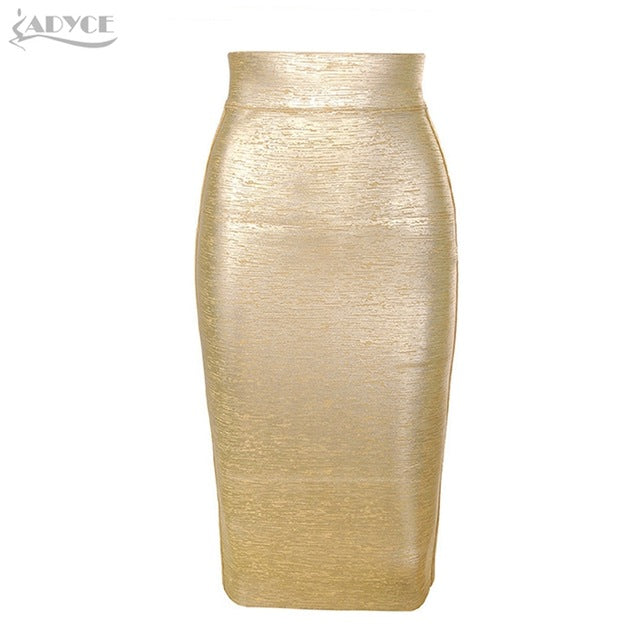 ADYCE 2019 New Summer Women Bandage Skirts Sexy Celebrity Runway Party Skirts Mid Calf Gold Female Bodycon Club Pencil Skirts