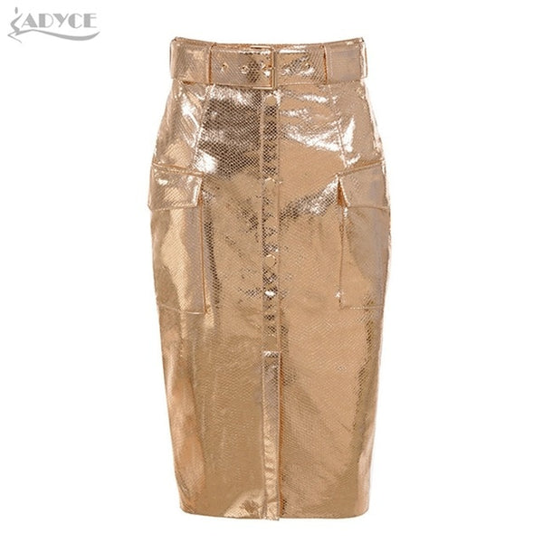 Adyce 2019 New Summer Women Skirts  Elegant High Waist Sexy Gold Knee Length Clubwears Skirt Celebrity Prom Bodycon Party Skirts
