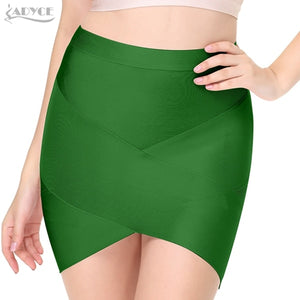 ADYCE 2019 New Women Bodycon Rayon Short Bandage Skirt Green Black Gray Nude Red Yellow Khaki Thick Sexy Lady Party Prom Skirts