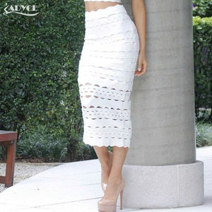 Adyce Summer 2019 New Arrival Women Bandage Pencil Skirt Sexy White Midi Hollow Out Elegant Celebrity Prom Bodycon Party Skirt