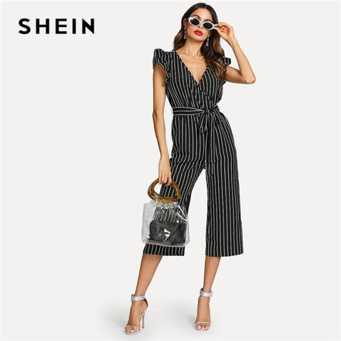 V Neck Belted Jumpsuit Summer Women Workwear Jumpsuit