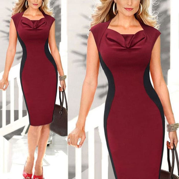 V Neck Body-Con Elegant Pencil Dresses Office Wear Women Work Outfits Dresses