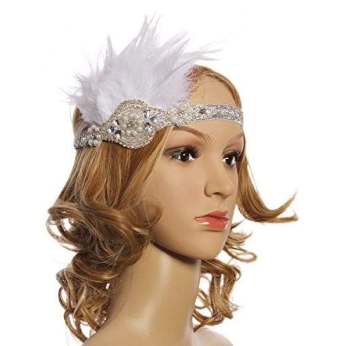 4a7c135af05f9 Vijiv Vintage White Feather Silver Pearl Headpiece 1920S Flapper Headband  Back To Results