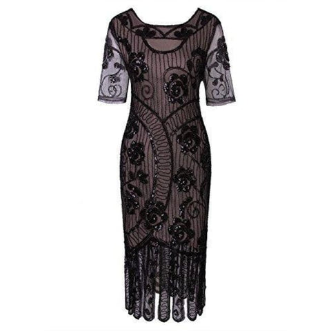 \vintage 1920S Dresses Floury Beaded Cocktail Flapper Dress With Sleeves Gatsby Party Back To Results