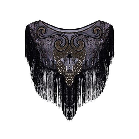 Vintage 1920S Flapper Shawl Sequin Fringe Gatsby Evening Bolero Cape Back To Results