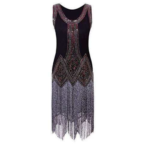 Vintage 1920S Full Fringed Tassel Beads Sequin Long Cocktail Flapper Dress Back To Results